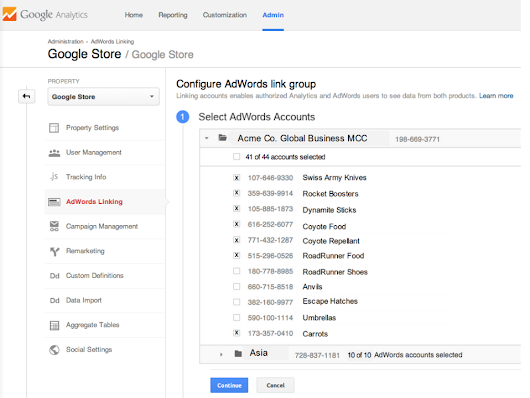 Analytics & AdWords Bulk Account Linking