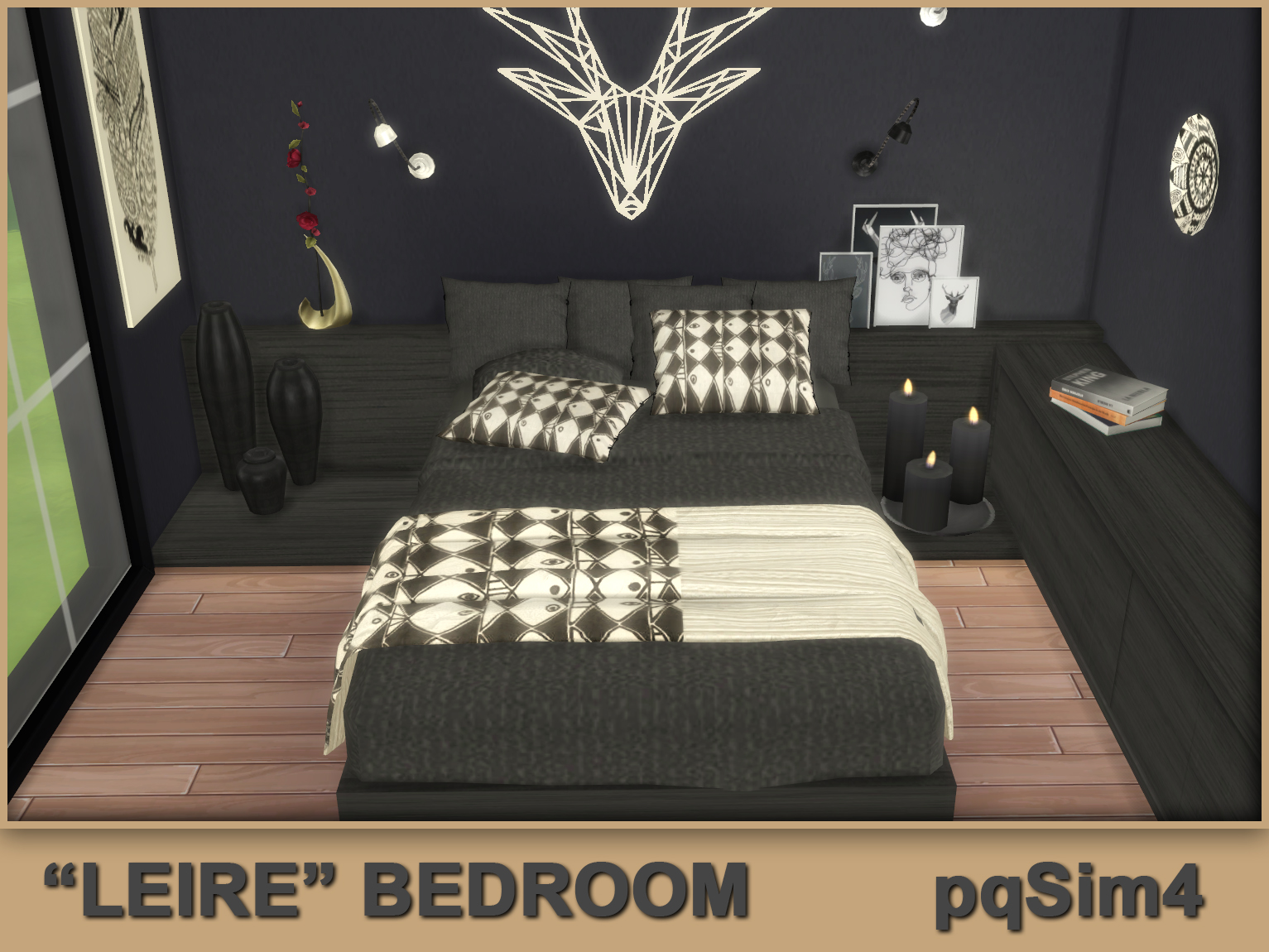 Leire bedroom sims 4 custom content for Bedroom designs sims 4