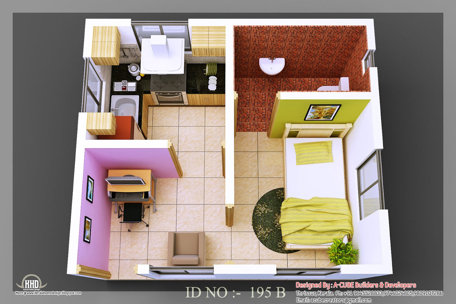 3d isometric views of small house plans kerala home for Simple house design inside