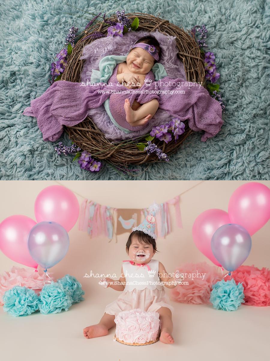eugene, oregon newborn photographer cake smash