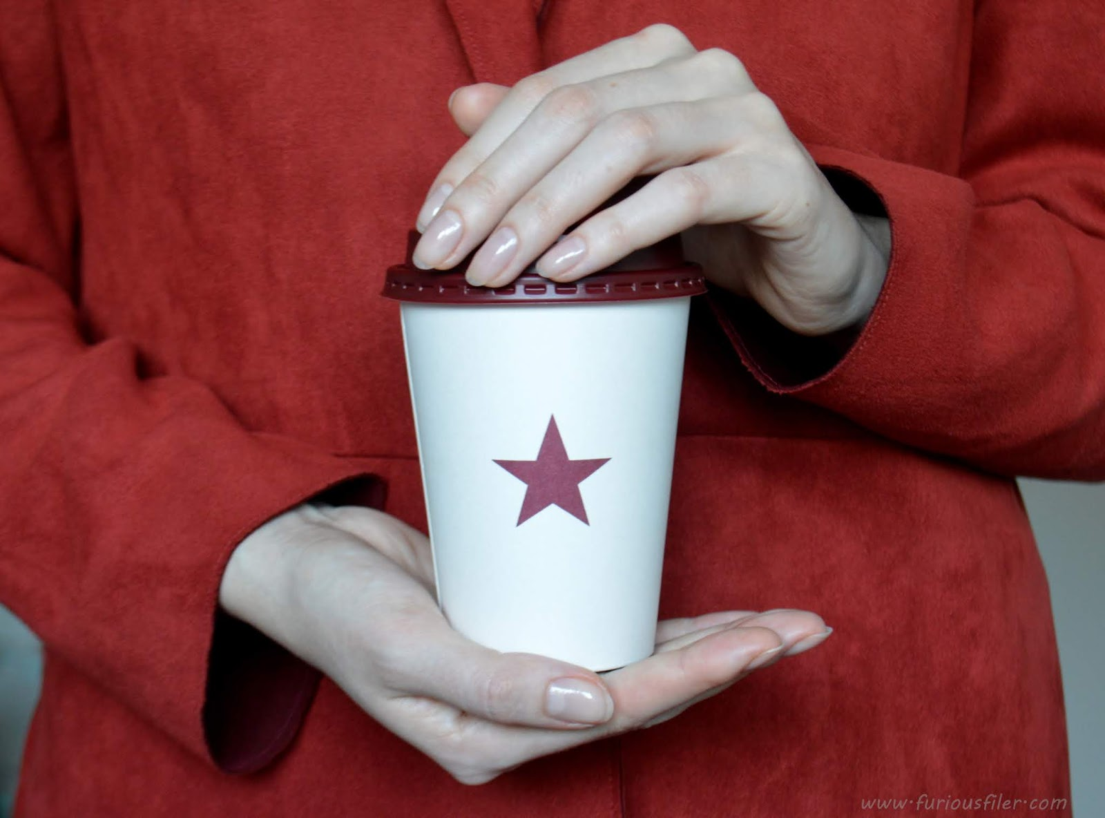 coffee pret a manger hand model bare nails