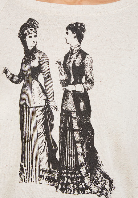 2 Victorian Women in gowns screenprint on a sweatshirt by modcloth. women's steampunk clothing