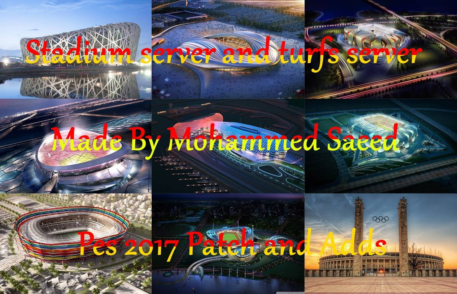 PES 2017 Stadiums server and Turfs server made BY mohammed saeed