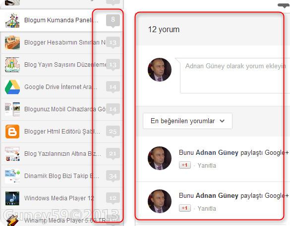 Google+ Yeni yorum görseli