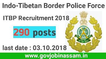 ITBP recruitment 2018, itbp jobs, itbp apply online, govjobinassam
