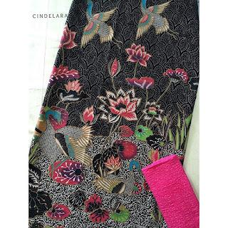 kain batik printing bangau hitam mix embos