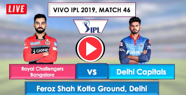 RCB vs DC Live Streaming Free, IPL 2019 Match 46