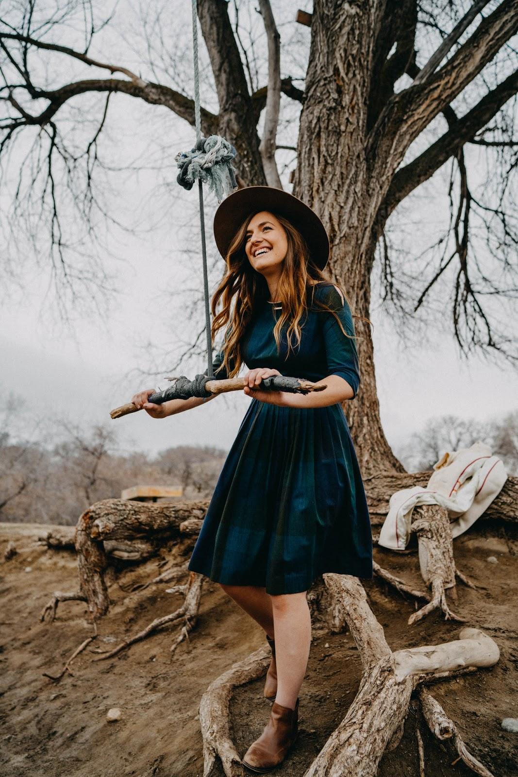 vintage plaid dress fall