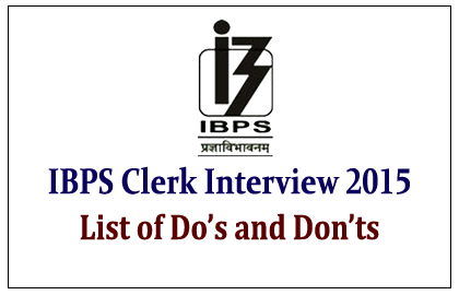 IBPS Clerk Interview 2015