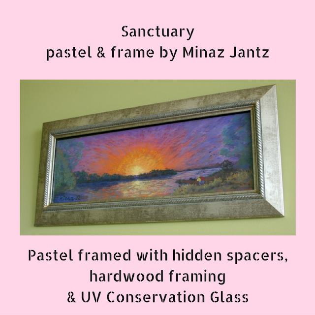 Sanctuary pastel and framed by Minaz Jantz