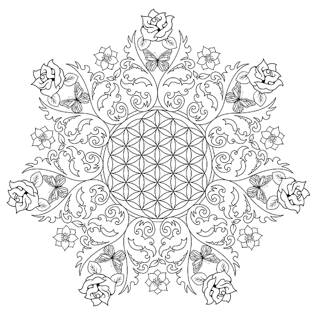 Flower Of Life Free Coloring Pages For Adult To Relax Butterfly And Flower  Coloring Pages For Adults Flower Mandala Coloring Pages For Adults