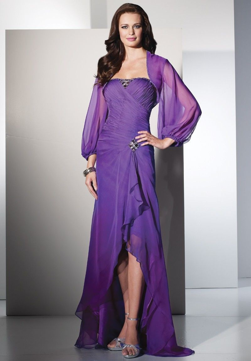 a584c7e513f Chiffon Strapless A-line Long Mother Of The Bride Dress with Matching Jacket
