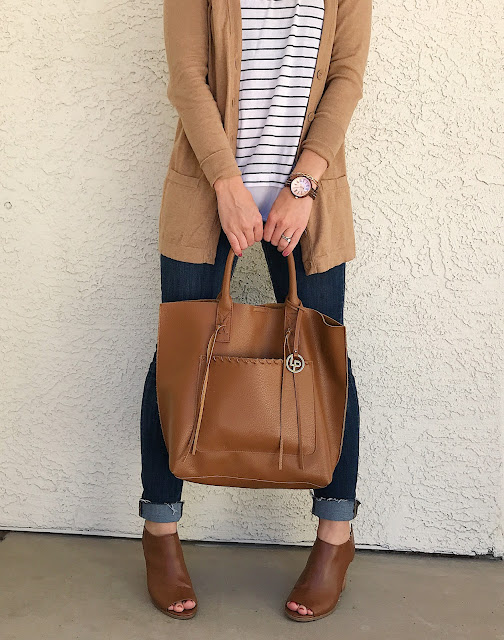 Thrifty Wife, Happy Life || Thrifted outfit styled with a wooden watch