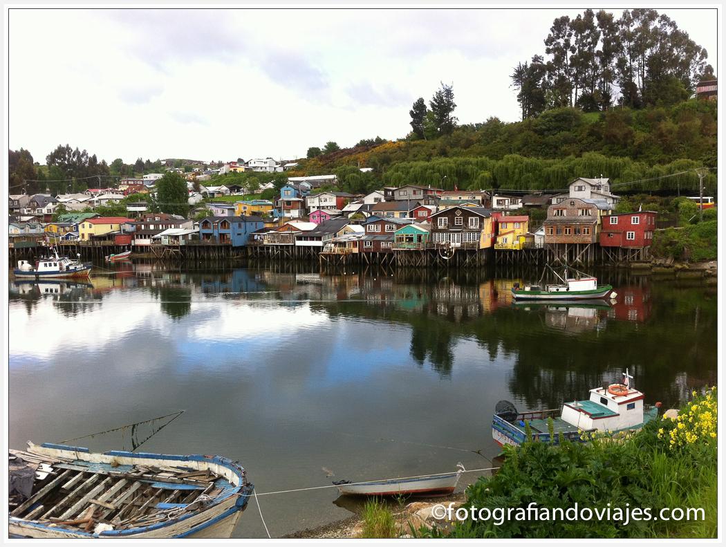 Palafitos en la isla Chiloe en Chile