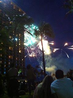 Fireworks in Oahu at Hilton Hawaiian Village.