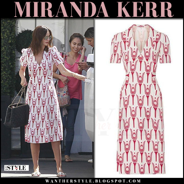 Miranda Kerr in white red printed Miu Miu midi dress what she wore july 3 2017 street style