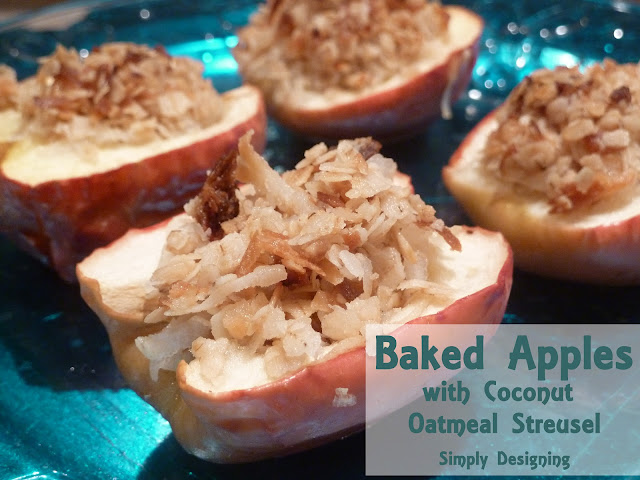 baked apples with coconut oatmeal streusel