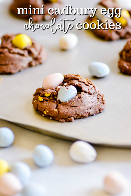 Soft and chewy chocolate cookies filled with crunchy Mini Cadbury Eggs.