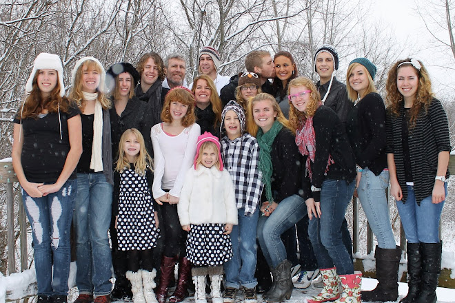 Paul and I, all 16 kids and Ashley, Benjamin's wife...Christmas 2012