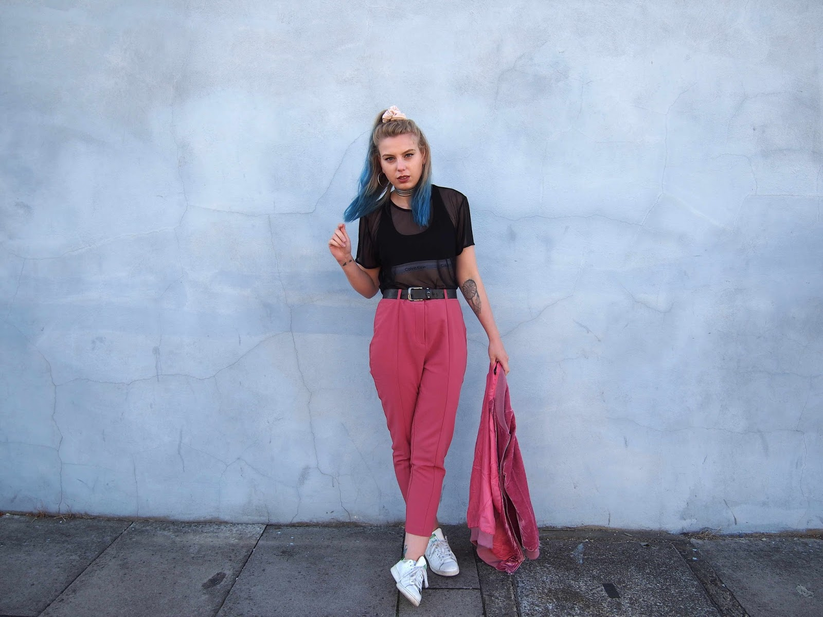 dusty pink cigarette trousers, mesh t-shirt, mesh top, ck bralette, velvet longline pink bomber jacket, stan smiths, street style, grunge 90's alternative outfit