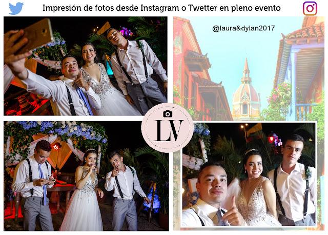 Impresión de fotos con hashtag Instagram twetter