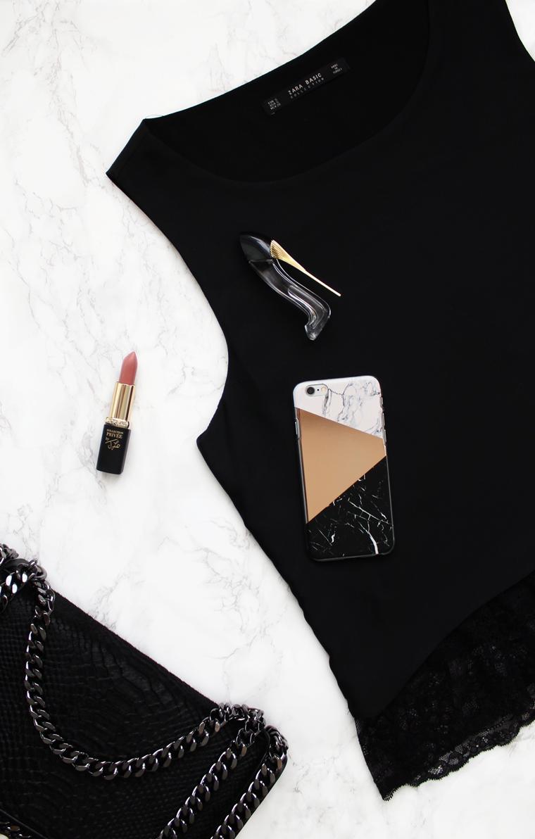 Nowości w mojej garderobie i nie tylko - czarna bluzka z koronkowym dołem Zara