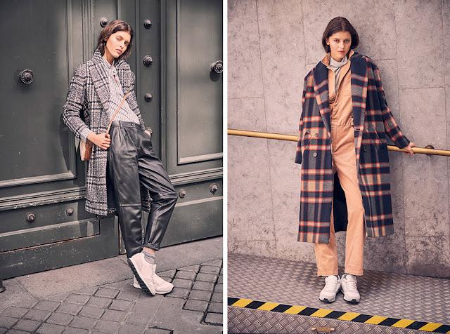 Девушки в пальто в клетку и брюках