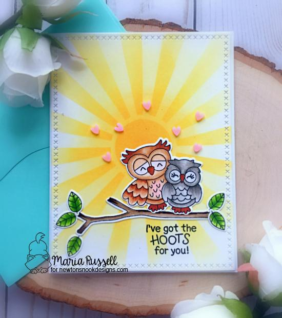 Owl Valentine Card by Maria Russell | Love Owl-ways and What a Hoot Stamp Sets and Sunscape Stencil by Newton's Nook Designs #newtonsnook #handmade