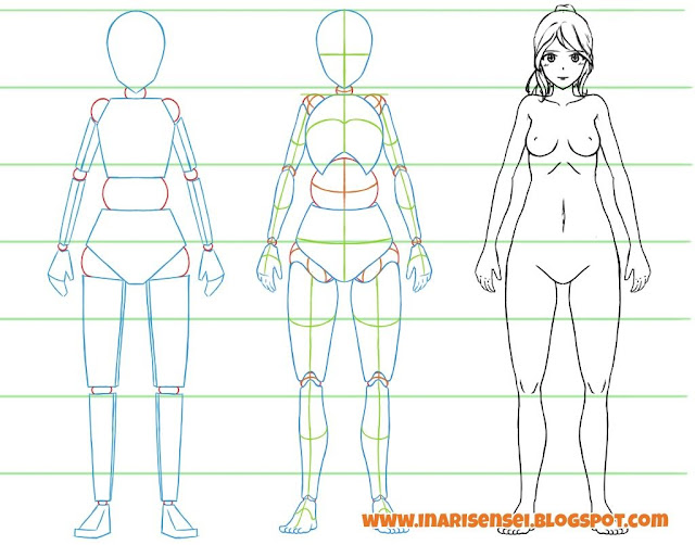 Dessiner un corps manga: un corps féminin vu de face