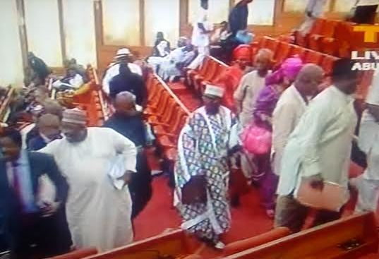 pdp senators stage walk out over amaechi s ministerial