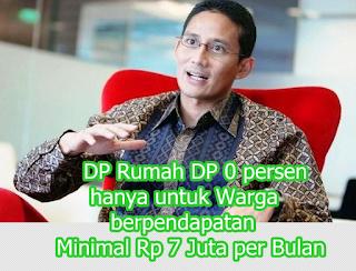 DP Rumah DP 0 persen hanya untuk Warga berpendapatan Minimal Rp 7 Juta per Bulan
