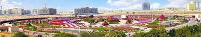 Amazing Panorama view of Dubai Miracle Garden.