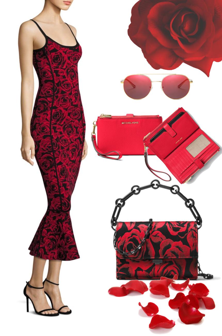 Michael Kors Collection Rose Jacquard Flounce Dress