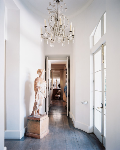 Breathtaking white French Country Kay O'Toole hallway in Lonny by Patrick Cline