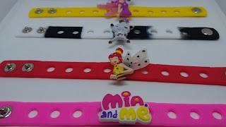 10 Bracciali Mia e Me in 3D braccialetti in silicone personalizzati gadget regalini fine festa a tema compleanno bambine