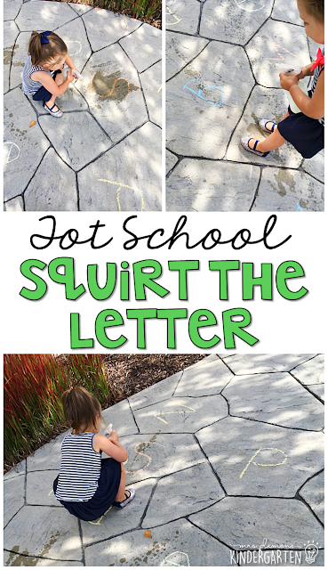 Learning is more fun when it involves movement! Learn letters and sounds with this Chicka Chicka Boom Boom Squirt the Letter activity. Great for tot school, preschool, or even kindergarten!