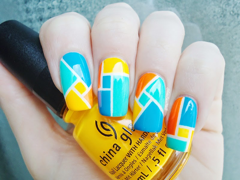 Geometric neon color block nail art