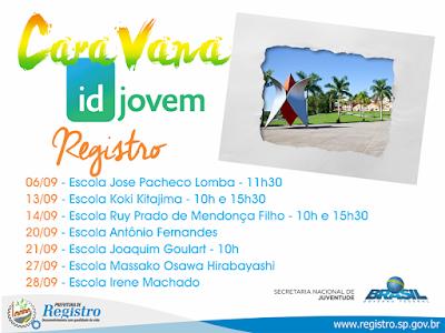 Prefeitura de Registro-SP fará Caravana ID Jovem nas escolas estaduais durante o mês de setembro