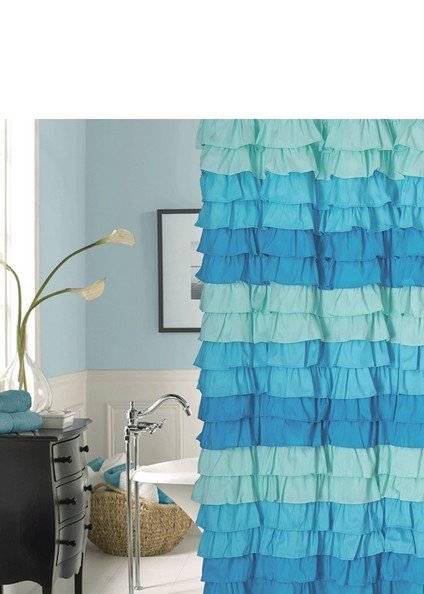 blue and tan shower curtain guide