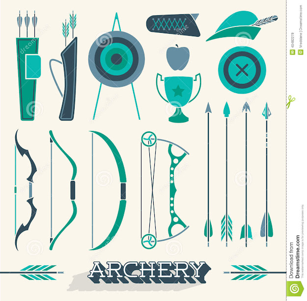 Vector Set Archery Icons And Objects Royalty Free Stock Images