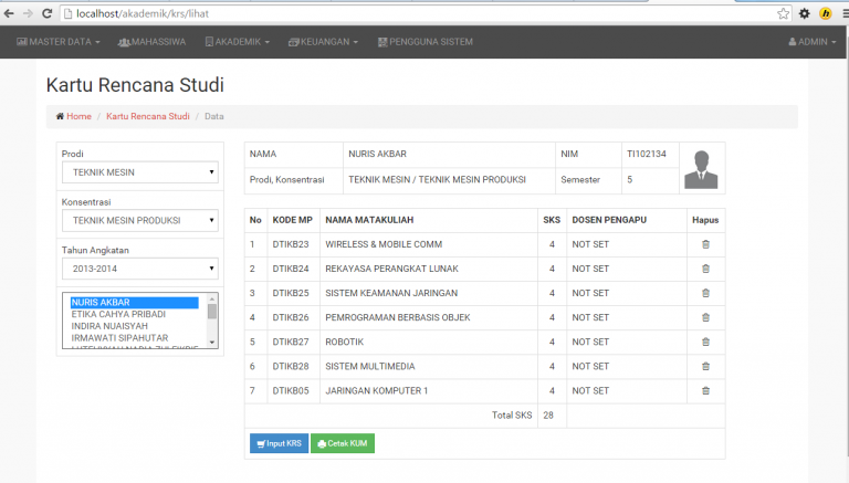 Code Php Gratis Sistem Informasi Akademik Kampus Berbasis Web Php