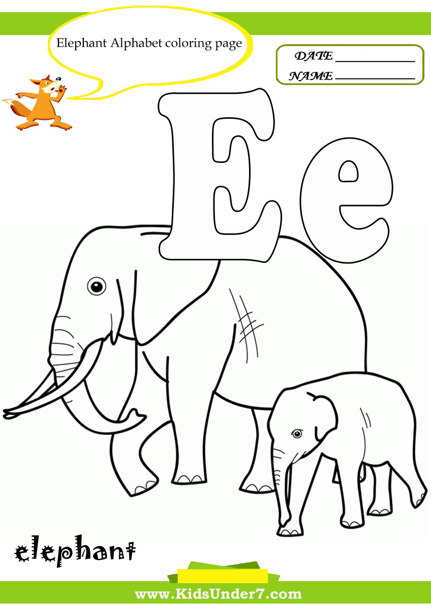 Abc coloring books for toddlers book16: Kids Under 7 Letter E Worksheets And Coloring Pages