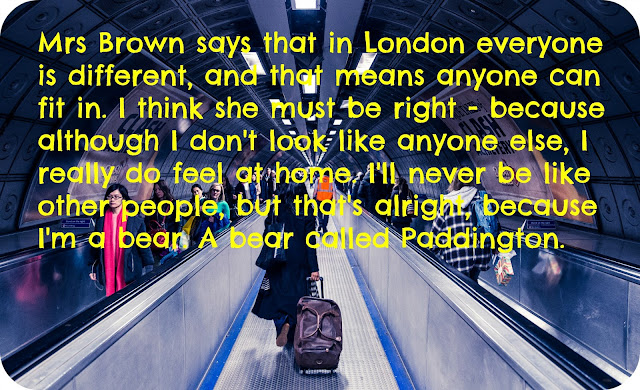 The London underground with paddington quote overlaid