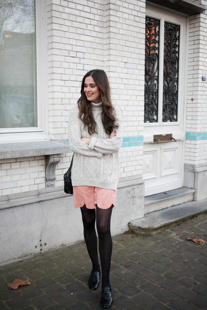 Outfit: cable knit, scallop hem skirt, patent loafers