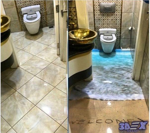 How to make 3d bathroom floor and 3d self-leveling floor
