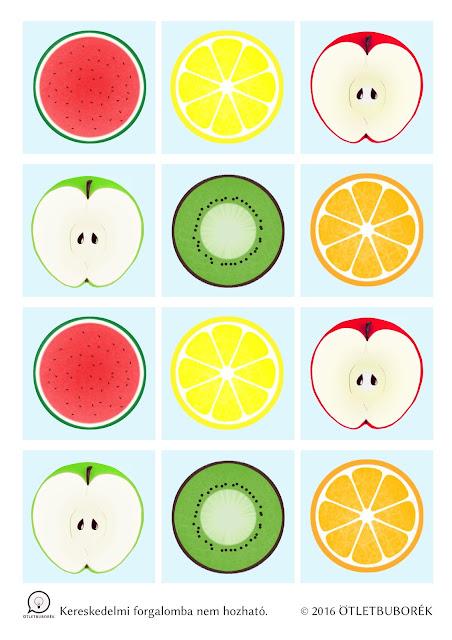 Nyomtatható gyümölcsös memóriajáték gyerekeknek