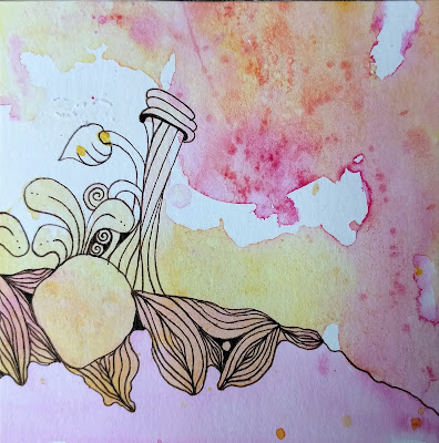 beginning to tangle the organic shapes created by the watercolor