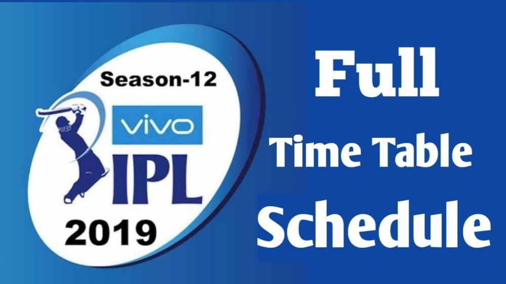 ipl 2019 time table pdf file download