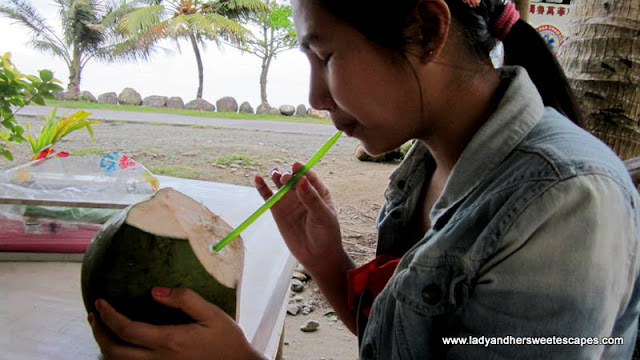Lady Drinking Coconut Juice in Leyte Tour