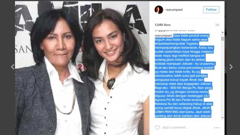 Ratna Sarumpaet marah di Instagram